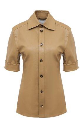 Женская кожаная рубашка BOTTEGA VENETA светло-бежевого цвета, арт. 646325/V05G0 | Фото 1