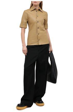 Женская кожаная рубашка BOTTEGA VENETA светло-бежевого цвета, арт. 646325/V05G0 | Фото 2