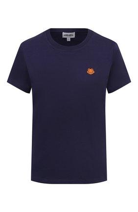 Женская хлопковая футболка KENZO синего цвета, арт. FB52TS8434SA | Фото 1 (Материал внешний: Хлопок; Рукава: Короткие; Стили: Кэжуэл; Принт: С принтом; Длина (для топов): Стандартные; Женское Кросс-КТ: Футболка-одежда)