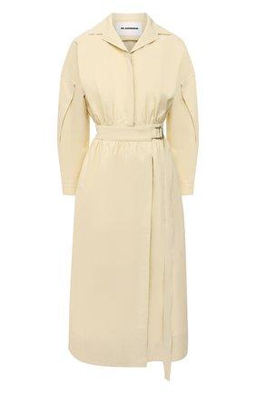 Женское льняное платье JIL SANDER желтого цвета, арт. JSPS501105-WS320700   Фото 1