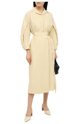 Женское льняное платье JIL SANDER желтого цвета, арт. JSPS501105-WS320700   Фото 2