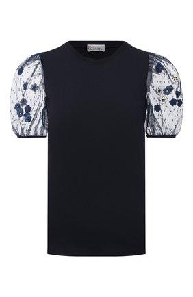 Женская хлопковая футболка REDVALENTINO синего цвета, арт. VR3MG09Q/5QD | Фото 1