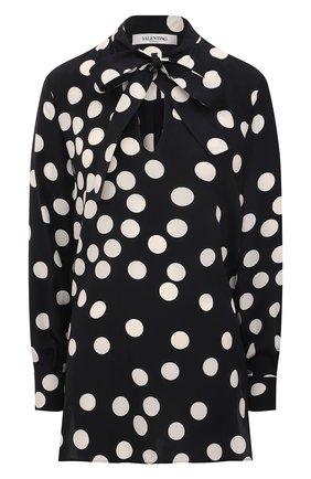 Женская шелковая блузка VALENTINO черно-белого цвета, арт. VB3AE5G765N | Фото 1