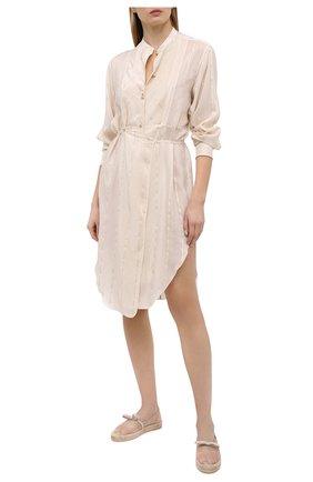 Женские текстильные эспадрильи REDVALENTINO бежевого цвета, арт. VQ2S0D64/HUH | Фото 2 (Материал внутренний: Текстиль, Натуральная кожа; Каблук высота: Низкий; Материал внешний: Текстиль; Подошва: Платформа)