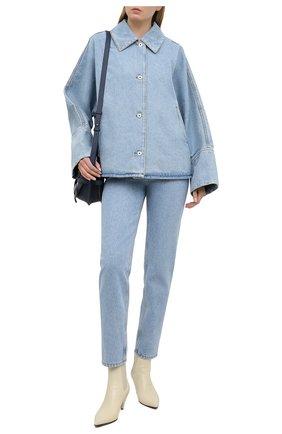 Женская джинсовая куртка LOEWE голубого цвета, арт. S359330XCE | Фото 2 (Кросс-КТ: Куртка, Деним; Материал внешний: Хлопок; Рукава: Длинные; Длина (верхняя одежда): Короткие)