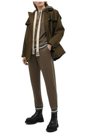 Женские хлопковые джоггеры LOEWE хаки цвета, арт. S359331XCU | Фото 2