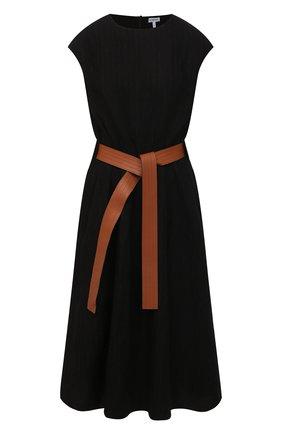Женское платье из шерсти и хлопка LOEWE черного цвета, арт. S359335XEX | Фото 1