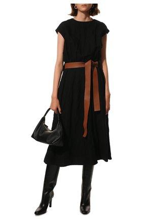 Женское платье из шерсти и хлопка LOEWE черного цвета, арт. S359335XEX | Фото 2