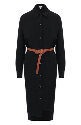 Женское шелковое платье LOEWE черного цвета, арт. S359335XEY | Фото 1