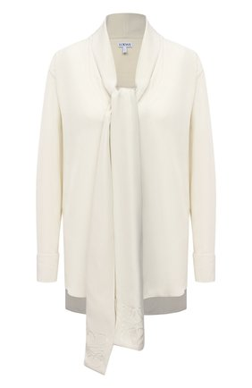 Женская шелковая блузка LOEWE кремвого цвета, арт. S359337XCR | Фото 1
