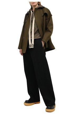 Женский хлопковое худи LOEWE хаки цвета, арт. S359341XA9 | Фото 2