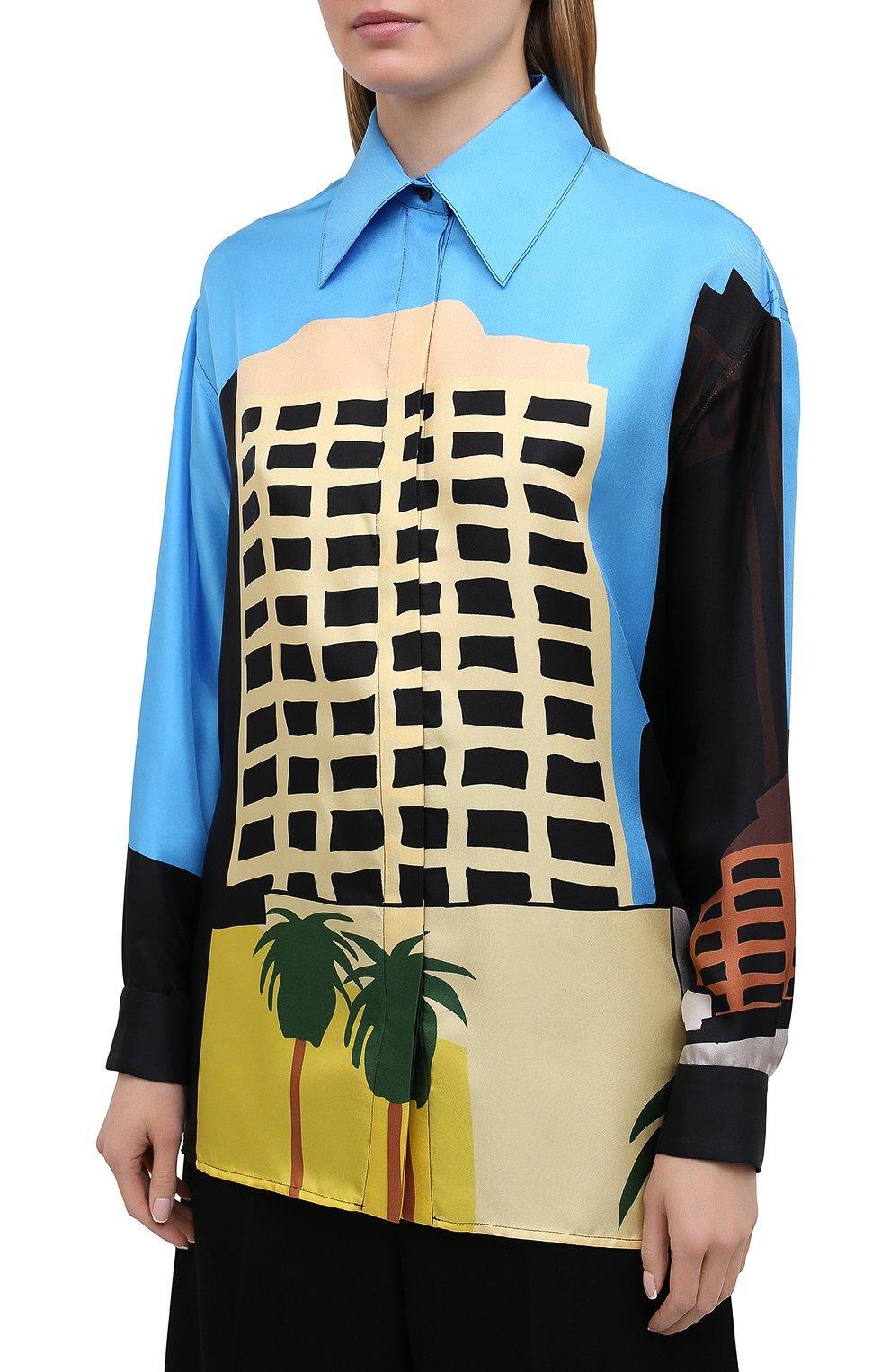 Женская шелковая рубашка LOEWE разноцветного цвета, арт. S897Y06X01 | Фото 3