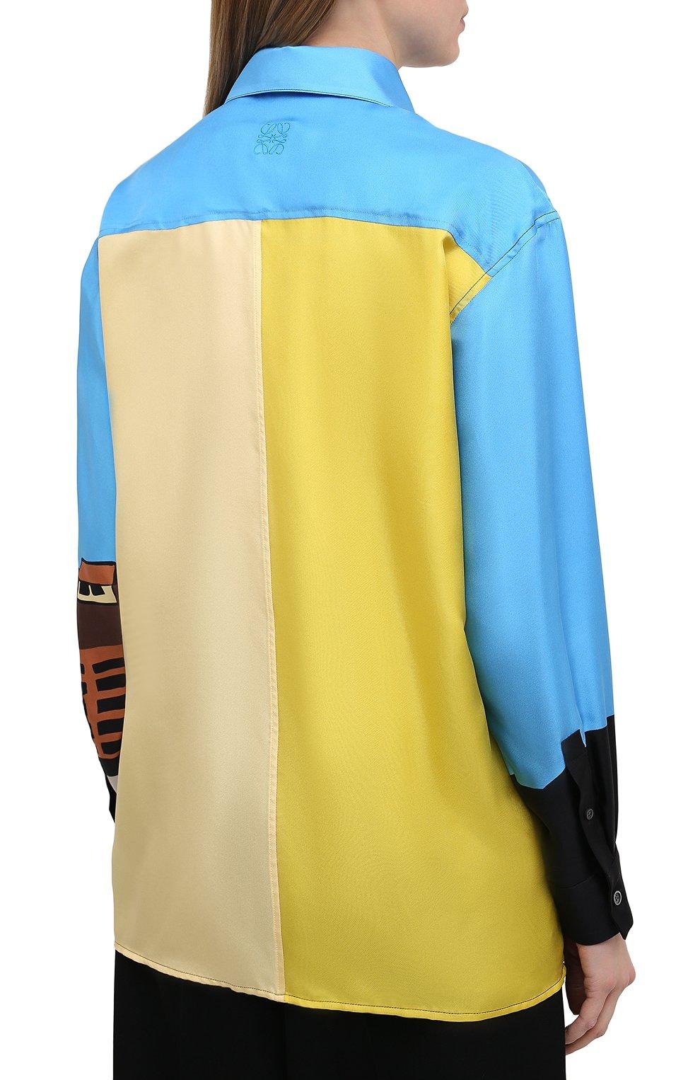 Женская шелковая рубашка LOEWE разноцветного цвета, арт. S897Y06X01 | Фото 4