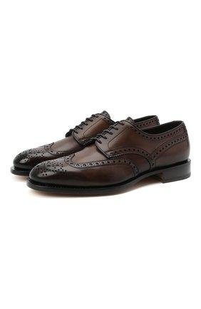 Мужские кожаные дерби SANTONI темно-коричневого цвета, арт. MCC015761PC4NFRKT50 | Фото 1 (Мужское Кросс-КТ: Броги-обувь; Стили: Классический; Материал внутренний: Натуральная кожа)