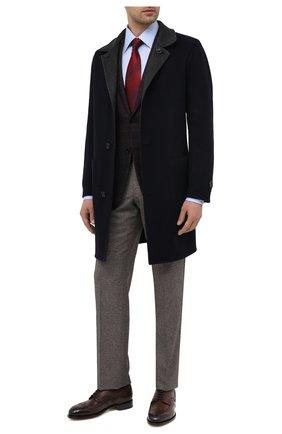 Мужские кожаные дерби SANTONI темно-коричневого цвета, арт. MCC015761PC4NFRKT50 | Фото 2 (Мужское Кросс-КТ: Броги-обувь; Стили: Классический; Материал внутренний: Натуральная кожа)