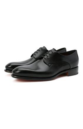 Мужские кожаные дерби SANTONI черного цвета, арт. MCCR17030MC1HVVDN01 | Фото 1