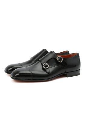 Мужские кожаные монки SANTONI черного цвета, арт. MCLI17503JA2IHMLN01 | Фото 1
