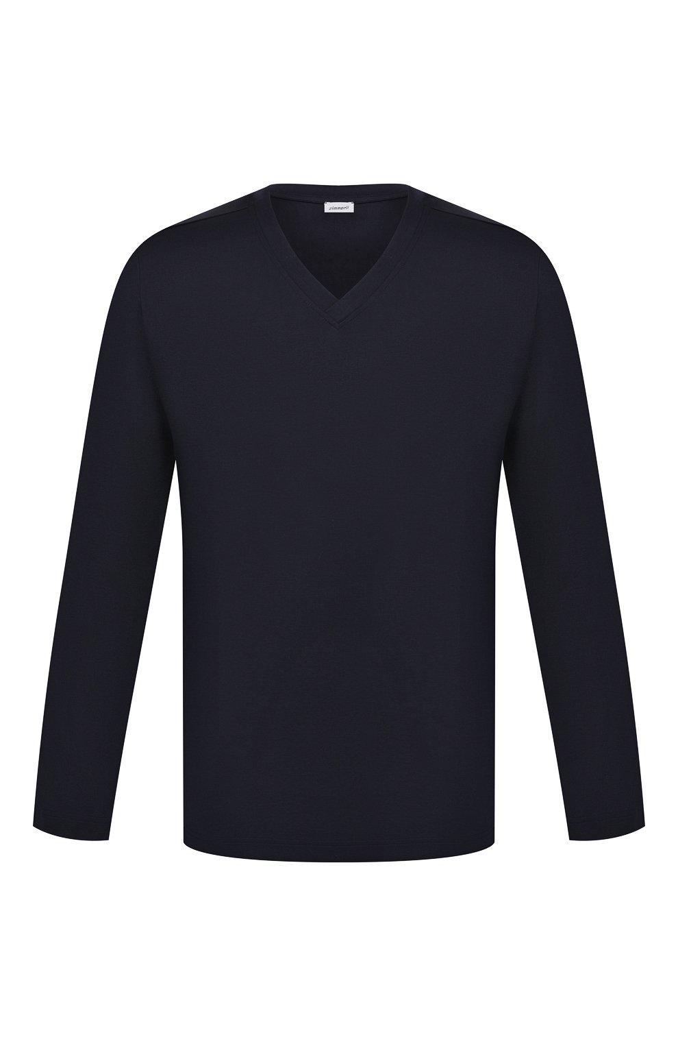 Мужская хлопковый лонгслив ZIMMERLI темно-синего цвета, арт. 3460-95302 | Фото 1 (Рукава: Длинные; Кросс-КТ: домашняя одежда; Длина (для топов): Стандартные; Материал внешний: Хлопок; Мужское Кросс-КТ: Футболка-белье)