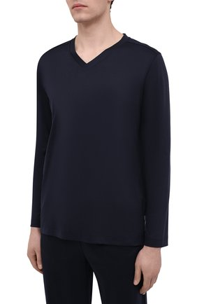 Мужская хлопковый лонгслив ZIMMERLI темно-синего цвета, арт. 3460-95302 | Фото 3 (Рукава: Длинные; Кросс-КТ: домашняя одежда; Длина (для топов): Стандартные; Материал внешний: Хлопок; Мужское Кросс-КТ: Футболка-белье)