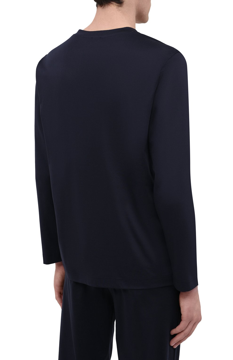 Мужская хлопковый лонгслив ZIMMERLI темно-синего цвета, арт. 3460-95302 | Фото 4 (Рукава: Длинные; Кросс-КТ: домашняя одежда; Длина (для топов): Стандартные; Материал внешний: Хлопок; Мужское Кросс-КТ: Футболка-белье)