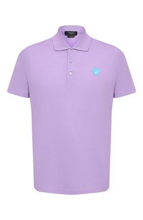 Мужское хлопковое поло VERSACE фиолетового цвета, арт. A87427/A237141 | Фото 1