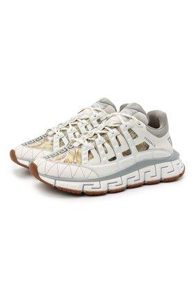 Мужские комбинированные кроссовки trigreca VERSACE белого цвета, арт. DSU8094/D16TCG | Фото 1 (Материал внешний: Текстиль; Материал внутренний: Текстиль; Стили: Гранж; Подошва: Массивная)