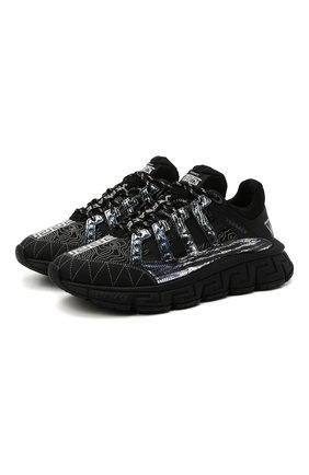 Мужские комбинированные кроссовки trigreca VERSACE черного цвета, арт. DSU8094/D18TCG | Фото 1