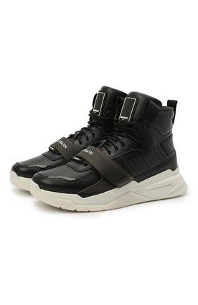 Мужские кожаные кроссовки b-ball BALMAIN черного цвета, арт. VM1C230/LCTW | Фото 1