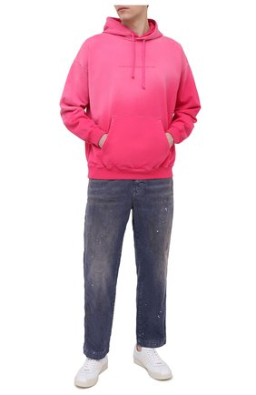 Мужской хлопковое худи DIESEL фуксия цвета, арт. A01873/0CBAM   Фото 2