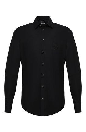 Мужская хлопковая рубашка DOLCE & GABBANA черного цвета, арт. G5EJ1Z/GE011 | Фото 1