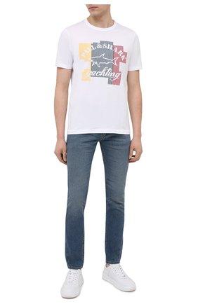 Мужская хлопковая футболка PAUL&SHARK белого цвета, арт. 21411083/C00 | Фото 2