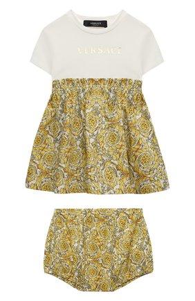 Женский комплект из платья и шорт VERSACE золотого цвета, арт. 1000292/1A00235 | Фото 1