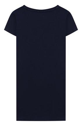 Детское хлопковое платье POLO RALPH LAUREN синего цвета, арт. 311837200   Фото 2 (Девочки Кросс-КТ: Платье-одежда; Случай: Повседневный; Материал внешний: Хлопок; Рукава: Короткие; Ростовка одежда: 4 года   104 см)