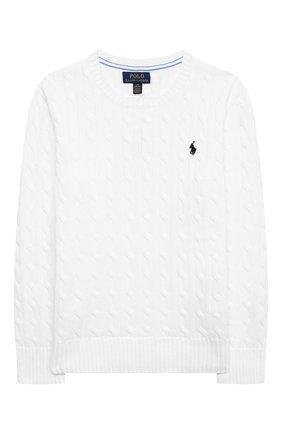 Детский хлопковый пуловер POLO RALPH LAUREN белого цвета, арт. 323702674 | Фото 1
