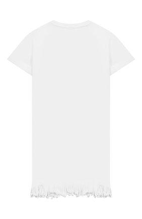 Детское хлопковое платье MSGM KIDS белого цвета, арт. MS026883 | Фото 2
