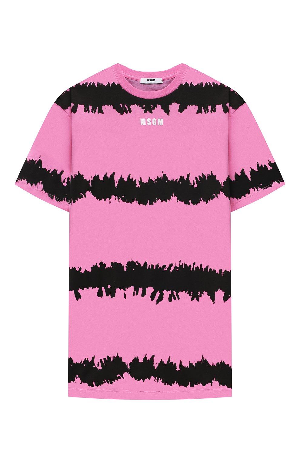 Детское хлопковое платье-футболка MSGM KIDS розового цвета, арт. MS026930 | Фото 1 (Рукава: Короткие; Случай: Повседневный; Материал внешний: Хлопок; Девочки Кросс-КТ: Платье-одежда; Ростовка одежда: 10 - 11 лет | 140 - 146см, 12 лет | 152 см, 13 - 15 лет | 158 см, 6 лет | 116 см, 8 лет | 128 см)