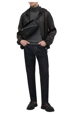 Мужская кожаная поясная сумка puzzle LOEWE черного цвета, арт. B510P35X01 | Фото 2