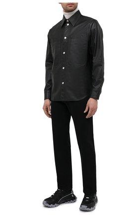 Мужская кожаная рубашка DIESEL черного цвета, арт. A01577/0GBAW | Фото 2