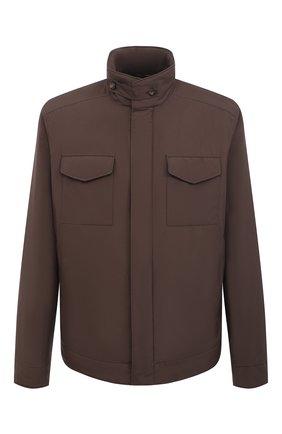 Мужская куртка с меховой подкладкой LORO PIANA коричневого цвета, арт. FAL5145   Фото 1 (Стили: Кэжуэл; Рукава: Длинные; Материал внешний: Синтетический материал; Кросс-КТ: Куртка; Материал утеплителя: Натуральный мех; Мужское Кросс-КТ: утепленные куртки; Длина (верхняя одежда): Короткие)