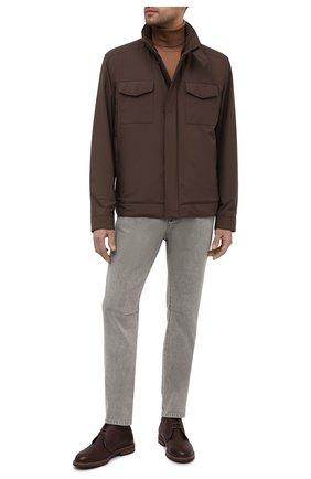 Мужская куртка с меховой подкладкой LORO PIANA коричневого цвета, арт. FAL5145   Фото 2 (Стили: Кэжуэл; Рукава: Длинные; Материал внешний: Синтетический материал; Кросс-КТ: Куртка; Материал утеплителя: Натуральный мех; Мужское Кросс-КТ: утепленные куртки; Длина (верхняя одежда): Короткие)
