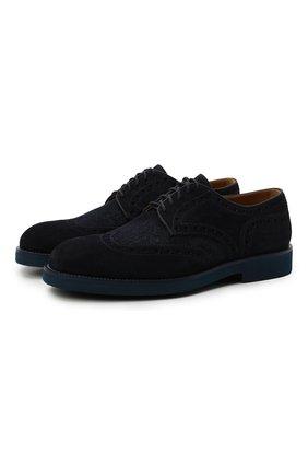 Мужские комбинированные дерби DOUCAL'S темно-синего цвета, арт. DU2526HELMPY510BB00 | Фото 1 (Материал внешний: Текстиль; Материал внутренний: Натуральная кожа; Стили: Классический; Мужское Кросс-КТ: Броги-обувь)