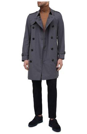 Мужские комбинированные дерби DOUCAL'S темно-синего цвета, арт. DU2526HELMPY510BB00 | Фото 2 (Материал внешний: Текстиль; Материал внутренний: Натуральная кожа; Стили: Классический; Мужское Кросс-КТ: Броги-обувь)