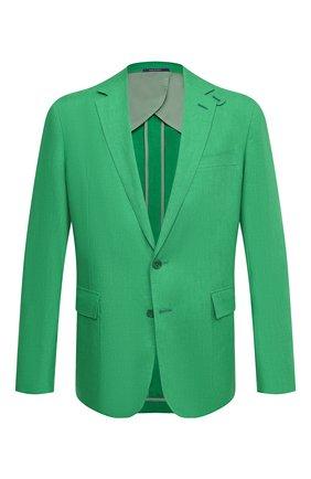 Мужской льняной пиджак RALPH LAUREN зеленого цвета, арт. 798829735 | Фото 1 (Пиджаки М: Приталенный; Рукава: Длинные; Случай: Повседневный; Материал подклада: Купро; Материал внешний: Лен; 1-2-бортные: Однобортные; Стили: Классический; Длина (для топов): Стандартные)