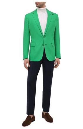 Мужской льняной пиджак RALPH LAUREN зеленого цвета, арт. 798829735 | Фото 2 (Пиджаки М: Приталенный; Рукава: Длинные; Случай: Повседневный; Материал подклада: Купро; Материал внешний: Лен; 1-2-бортные: Однобортные; Стили: Классический; Длина (для топов): Стандартные)
