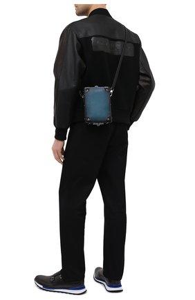 Мужская сумка BERLUTI бирюзового цвета, арт. M222258   Фото 2 (Ремень/цепочка: На ремешке; Материал: Текстиль, Растительное волокно)