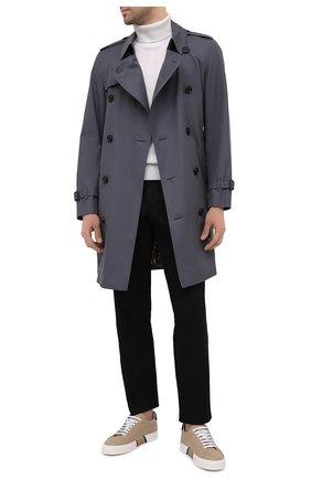 Мужские кожаные кеды BURBERRY бежевого цвета, арт. 8037195 | Фото 2