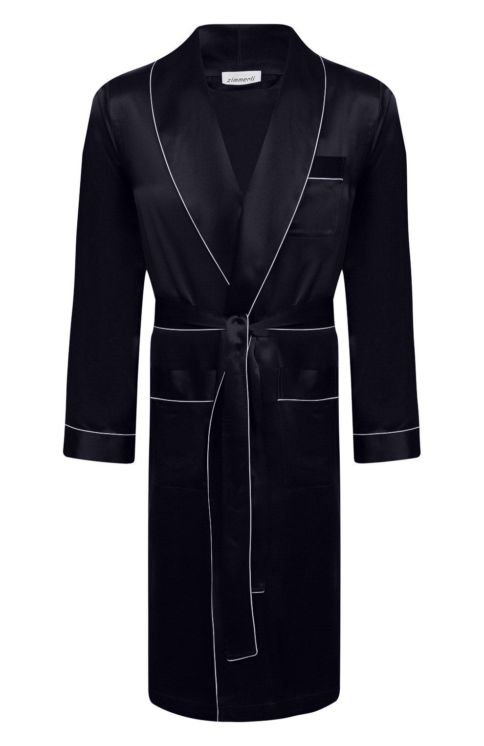 Мужской шелковый халат ZIMMERLI темно-синего цвета, арт. 6000-75131 | Фото 1 (Материал внешний: Шелк; Рукава: Длинные; Кросс-КТ: домашняя одежда; Длина (верхняя одежда): Длинные)