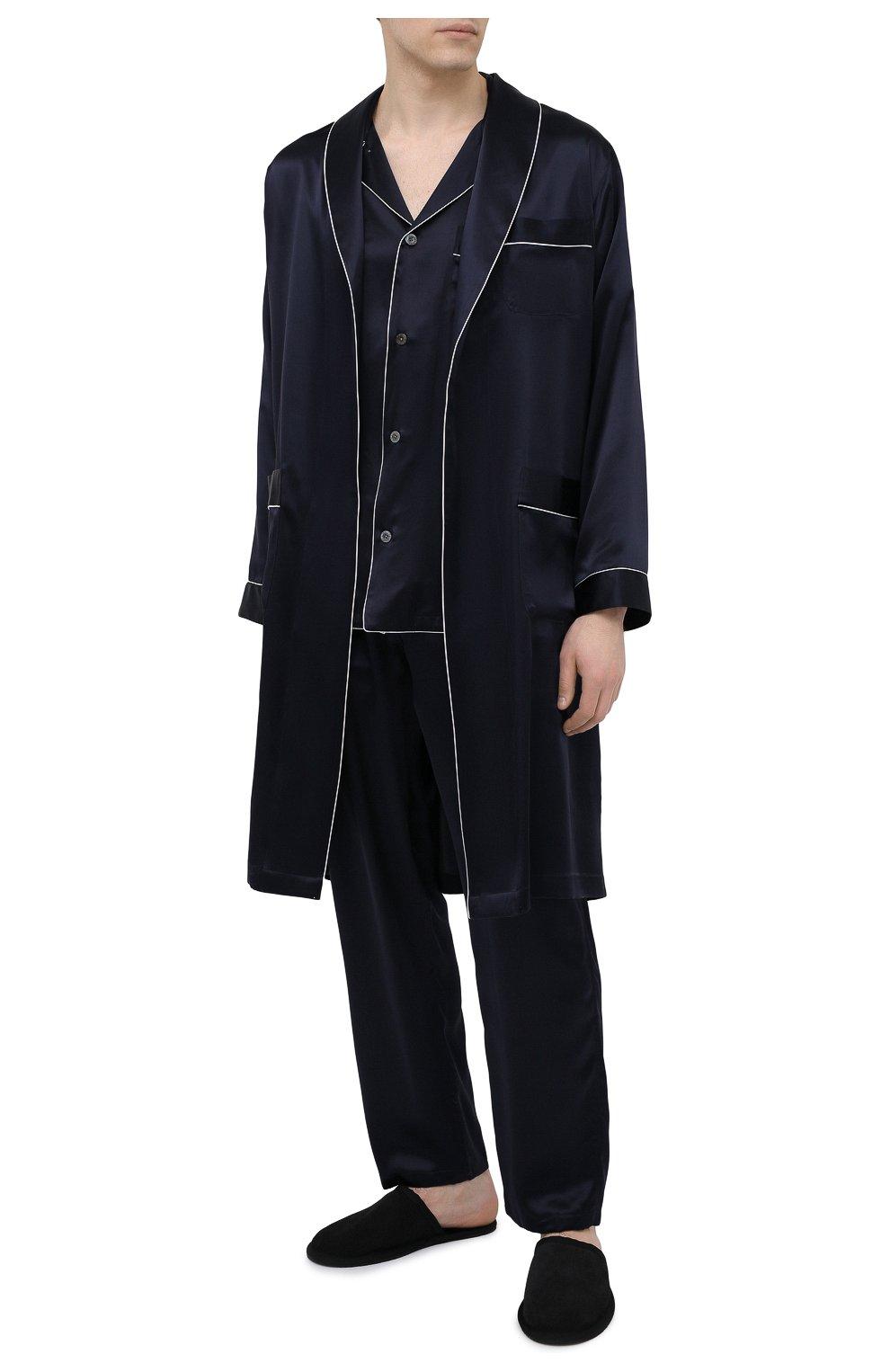 Мужской шелковый халат ZIMMERLI темно-синего цвета, арт. 6000-75131 | Фото 2 (Материал внешний: Шелк; Рукава: Длинные; Кросс-КТ: домашняя одежда; Длина (верхняя одежда): Длинные)