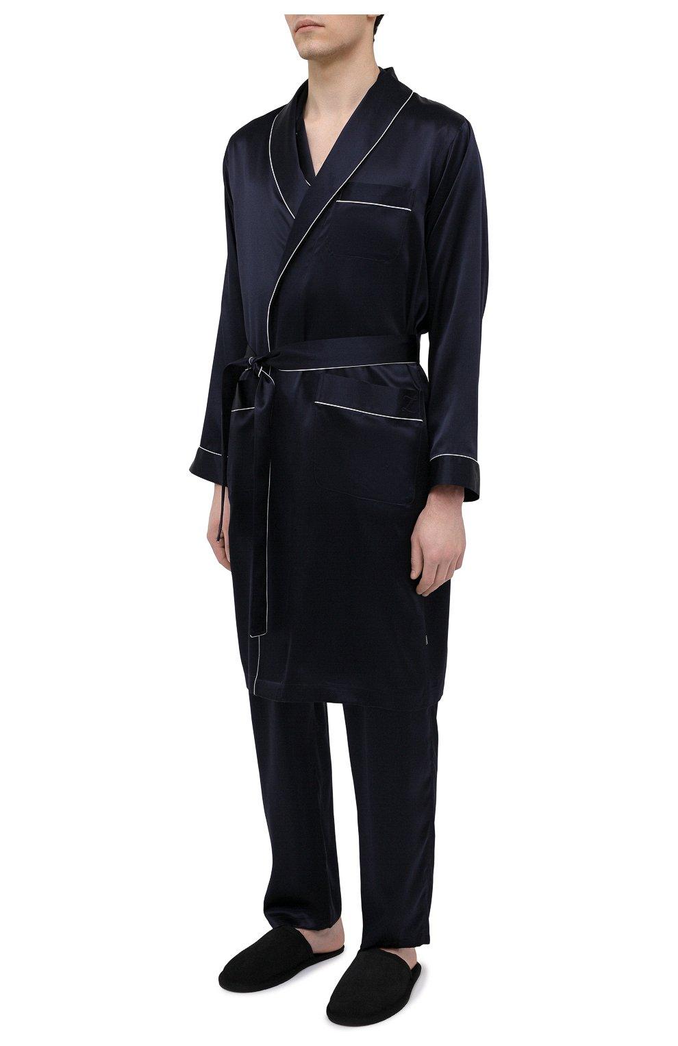 Мужской шелковый халат ZIMMERLI темно-синего цвета, арт. 6000-75131 | Фото 3 (Материал внешний: Шелк; Рукава: Длинные; Кросс-КТ: домашняя одежда; Длина (верхняя одежда): Длинные)