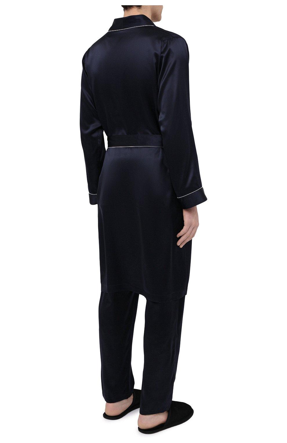 Мужской шелковый халат ZIMMERLI темно-синего цвета, арт. 6000-75131 | Фото 4 (Материал внешний: Шелк; Рукава: Длинные; Кросс-КТ: домашняя одежда; Длина (верхняя одежда): Длинные)